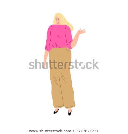 Mosolygó nő gesztusok kezek beszéd vektor izolált Stock fotó © robuart