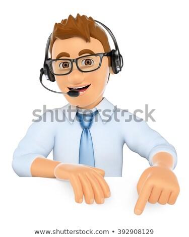 3D コールセンター 演算子 ヘッドホン ポインティング ダウン ストックフォト © texelart