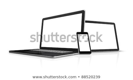 Foto stock: 3D · digital · pantalla · del · ordenador · aislado · blanco