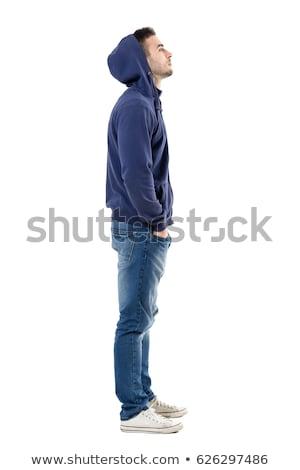 vista · lateral · retrato · masculino · nerd · em · pé · cinza - foto stock © feedough
