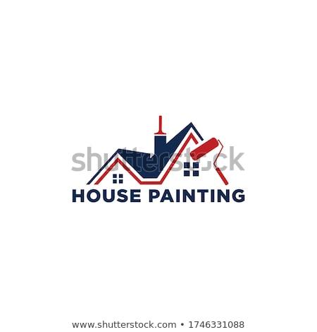 Huis schilderij diensten vector penseel gebouw Stockfoto © blumer1979