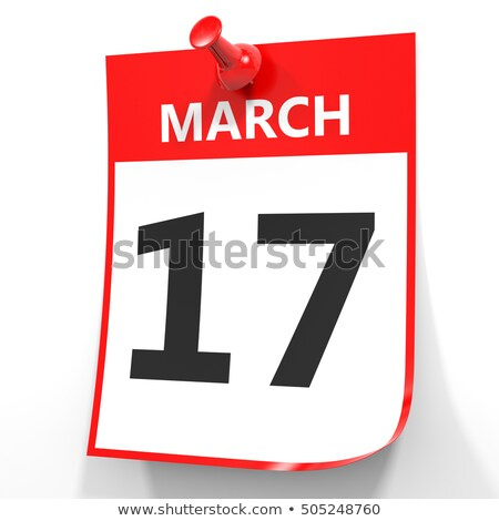 Wall calendar with a red pin - March 17 Stock photo © Zerbor