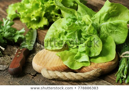 raw green organic butter lettuce ready to chop on cutting board with knife stock photo © virgin