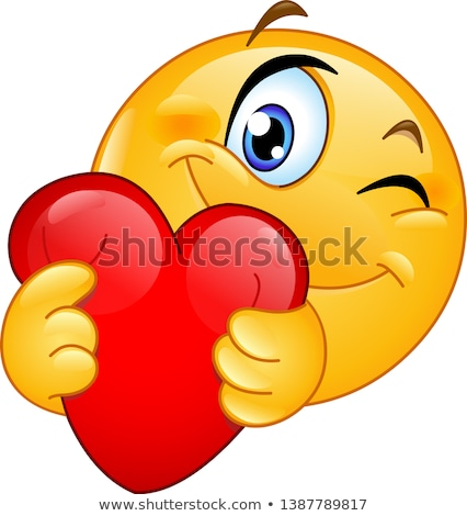 Smiling Red Heart Cartoon Emoji Face Character With Wink Expression Stock photo © hittoon