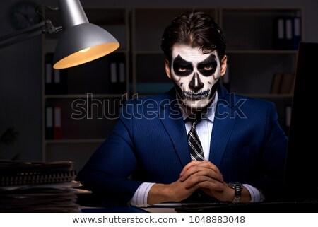 imprenditore · scary · faccia · maschera · lavoro · tardi - foto d'archivio © elnur