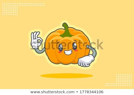 Mutlu turuncu kabak sebze karikatür yüz Stok fotoğraf © hittoon