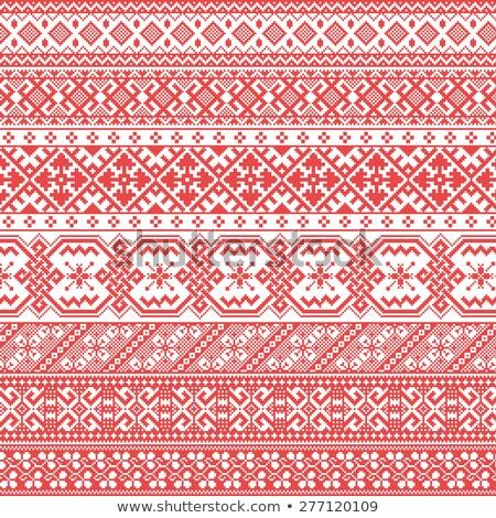 Rosyjski starych haft wzorców kwiat tekstury Zdjęcia stock © FoxysGraphic