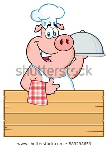 Boldog szakács disznó rajzfilm kabala karakter fa tábla Stock fotó © hittoon