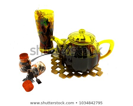 Concept black tea in glassware welding 3d rendering on white background with shadow Stock photo © Mar1Art1