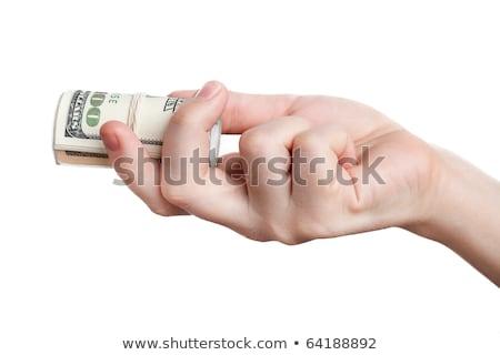 Stok fotoğraf: Dolar · rulo · el · beyaz · şerit · kadın