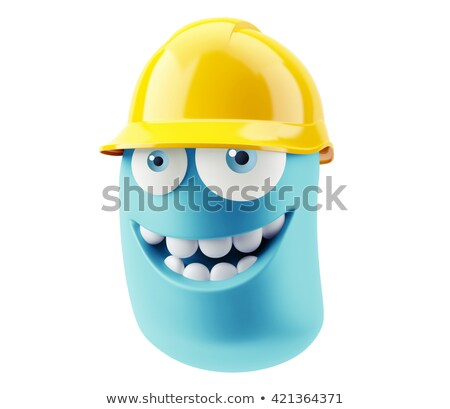 3d render mavi kask görünür tel kafes inşaat Stok fotoğraf © magraphics