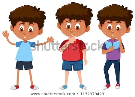 Szett lebarnult fiúk illusztráció fű művészet Stock fotó © bluering