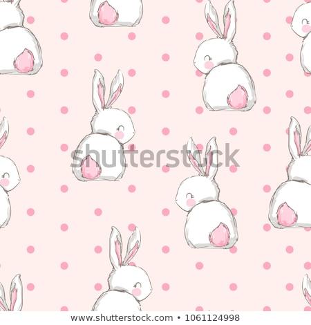 cute · weinig · konijn · roze · oren · 3D - stockfoto © maryvalery
