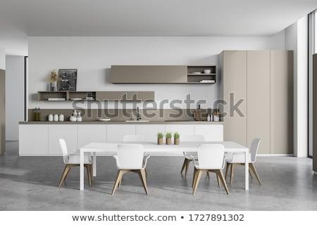 Stylish interior in modern style with white walls Stock photo © bezikus