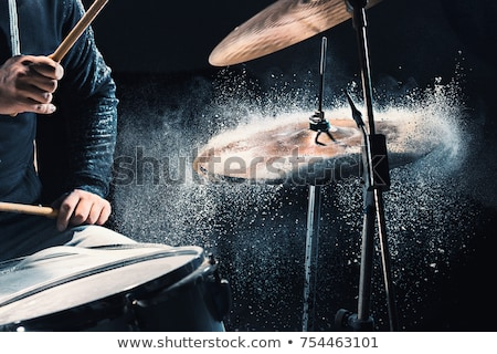 drummer playing drum kit at sound recording studio Stock photo © dolgachov