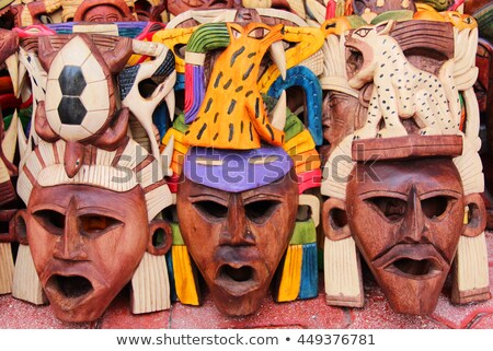 mexican wooden mask handcrafted wood faces stock photo © lunamarina
