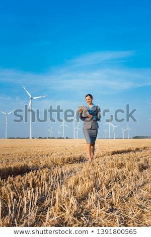 Nők pénz etikus beruházás szélturbinák áll Stock fotó © Kzenon