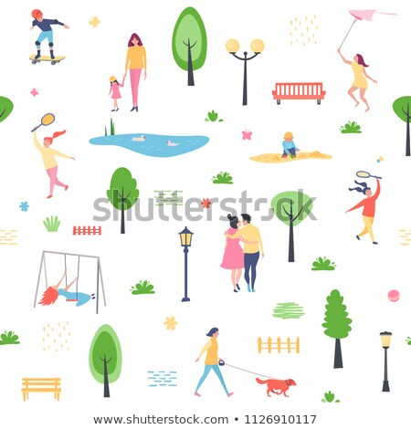 Children Playing Badminton On The Playground In Summer Vector. Girls. Isolated Illustration Stock photo © pikepicture