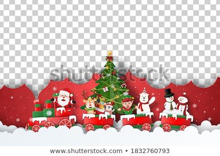 Flying сани иллюстрация дерево снега Сток-фото © bluering