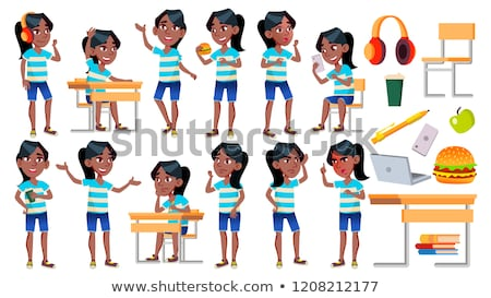 Girl Schoolgirl Kid Poses Set Vector. Black. Afro American. High School Child. Classmate. Teenager,  Stock photo © pikepicture