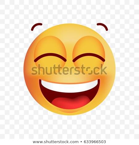Laughing with closed eyes emoticon Stock photo © yayayoyo