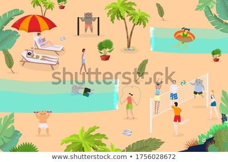 Desenho animado sorridente praia voleibol jogador gatinho Foto stock © cthoman