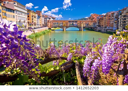 Arno river coastline and Ponte Vecchio bridge in Florence view stock photo © xbrchx