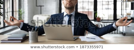 Irodai munka bannerek álmodik férfiak ül munka Stock fotó © robuart