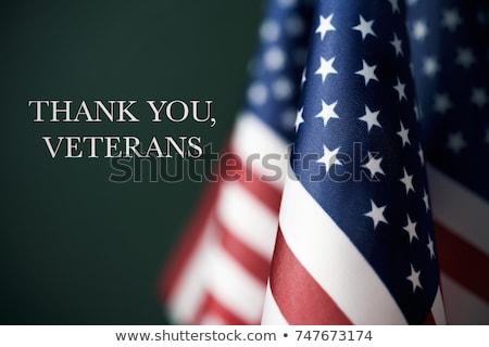 Amerikai zászló szöveg köszönjük közelkép kéz férfi Stock fotó © nito