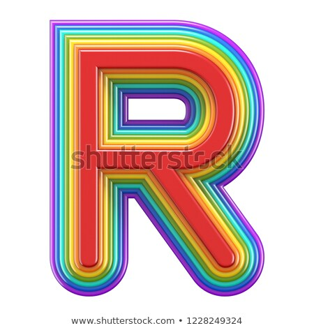 Concentric rainbow font letter R 3D Stock photo © djmilic