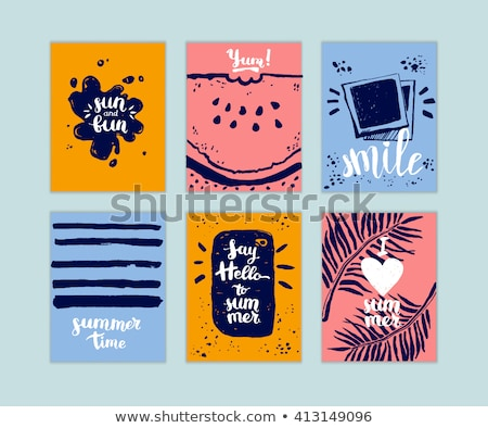 夏 アイスクリーム 時間 はがき 季節の インク ストックフォト © kollibri