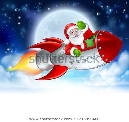 Santa Claus Rocket Sleigh Merry Christmas Graphic  Stock photo © Krisdog