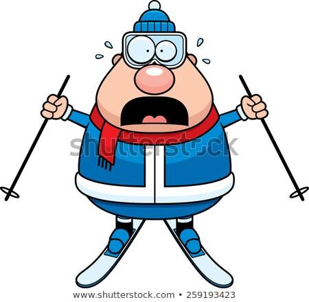 Scared Cartoon Skier Stock photo © cthoman