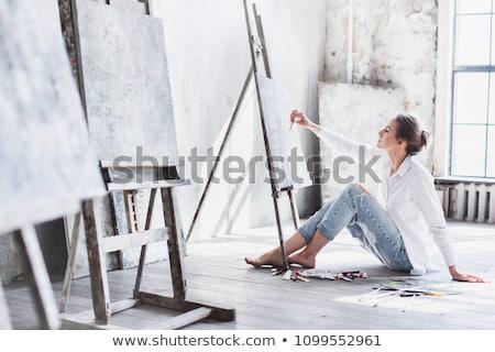 Mujer pintor lienzo ilustración Foto stock © adrenalina