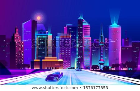 maan · urban · scene · illustratie · stad · reus - stockfoto © bluering