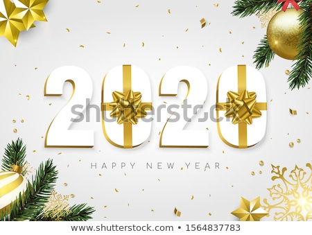 christmas and new year 3d pine tree leaf card stock photo © cienpies