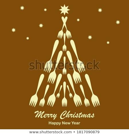 Réz kéz nyomtatott karácsonyfa üdvözlőlap vidám Stock fotó © cienpies