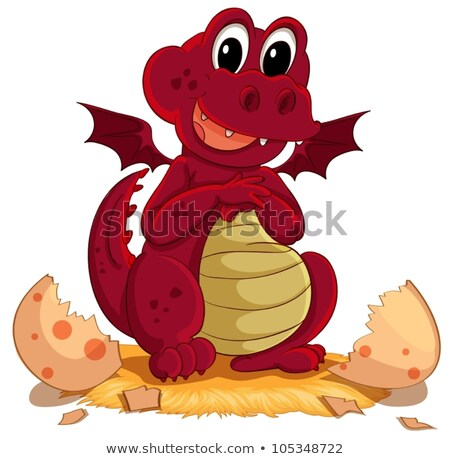 Red dragon hatching egg Stock photo © colematt