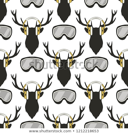 Christmas deer pattern. Funny Reideer in headphones and ski, snowboard goggles. Xmas winter seamless Stock photo © JeksonGraphics