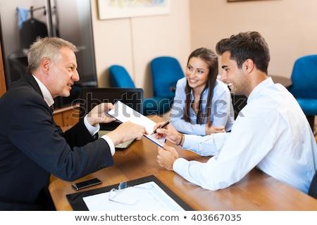 bankár · idős · pár · közmondás · jó · viszlát · aláírás - stock fotó © minervastock