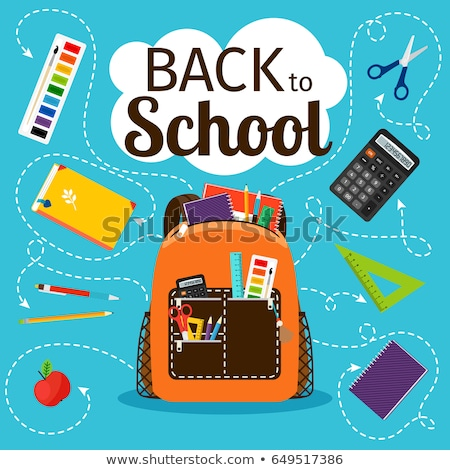 School Backpack Set Vector. Education Object. Kids Equipment. Colorful Schoolbag. Isolated Cartoon I Stock photo © pikepicture