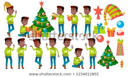 クリスマス 少年 セット ベクトル 黒 アフロ ストックフォト © pikepicture