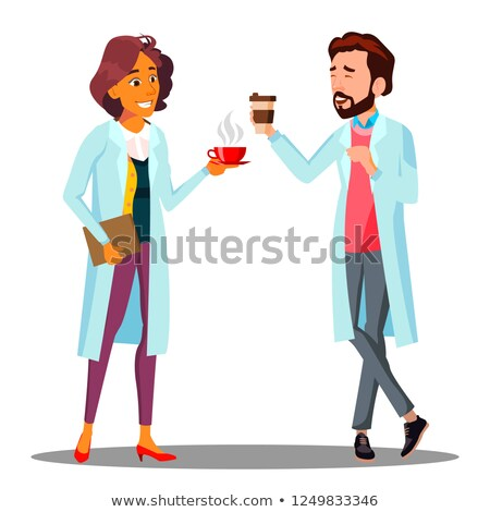 Doctor Man, Woman Holding A Glass Of Coffee In Hand, Coffee Break Vector. Isolated Cartoon Illustrat Stock photo © pikepicture