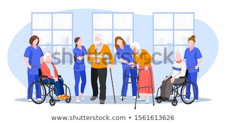 maison · de · retraite · vecteur · eps · femme · maison · signe - photo stock © rastudio