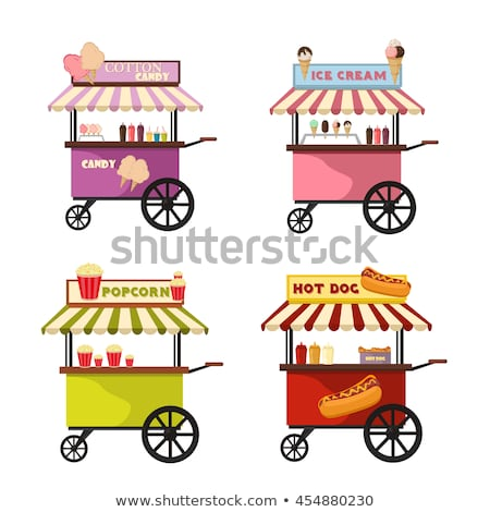 Street Food Carts with Tasty Popcorn and Hot Dogs Stock photo © robuart