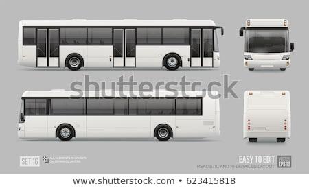 Realistyczny biały autobus wektora pojazd Zdjęcia stock © YuriSchmidt