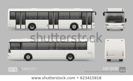 realistic white bus vector mock up stock photo © yurischmidt