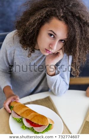Cabelos cacheados menina adolescente café da manhã casa retrato comida Foto stock © boggy
