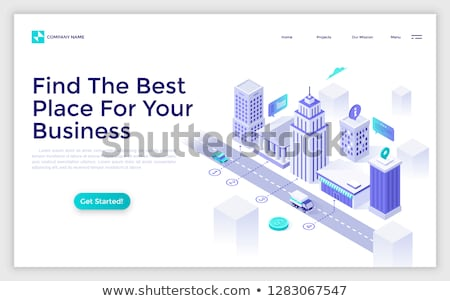 Business planning - modern isometric vector web banner Stock photo © Decorwithme