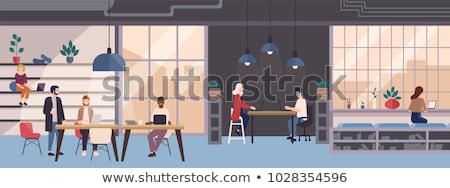 coworking space   flat design style colorful illustration stock photo © decorwithme